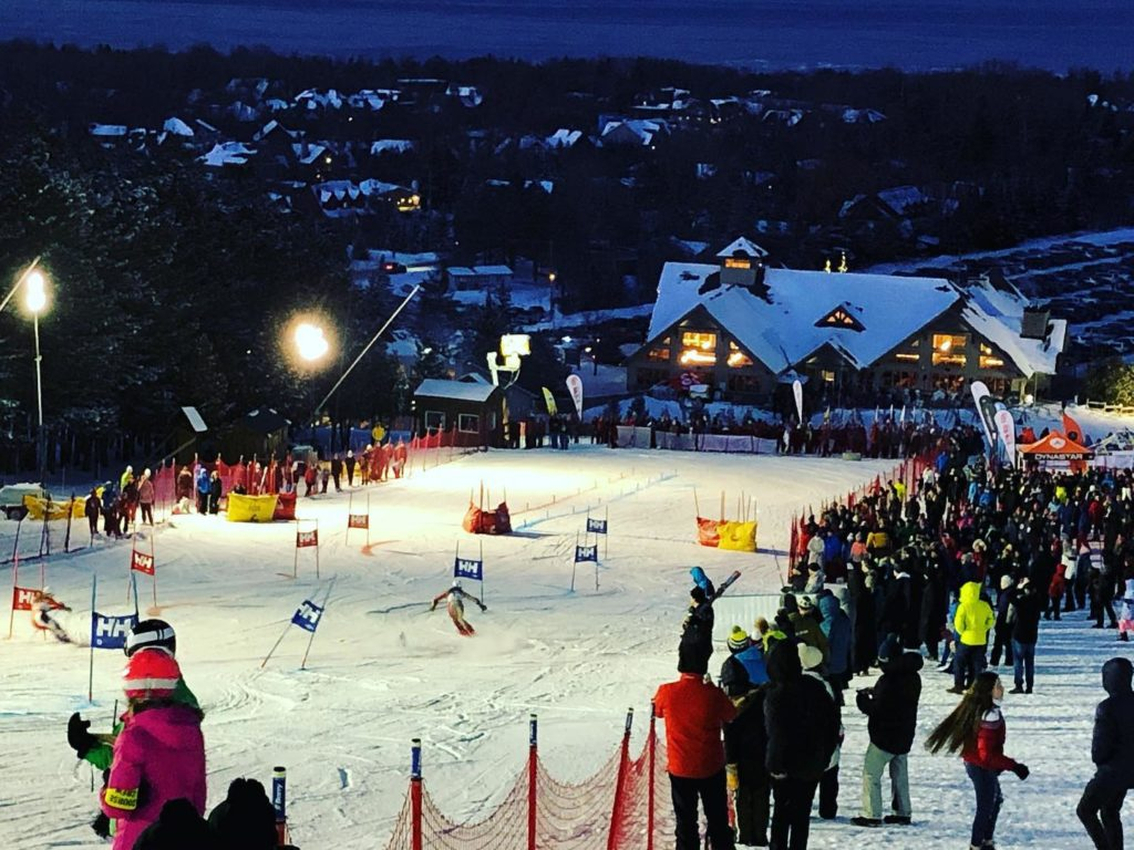 Winter scene at night at Craigleith private blue mountains ski club