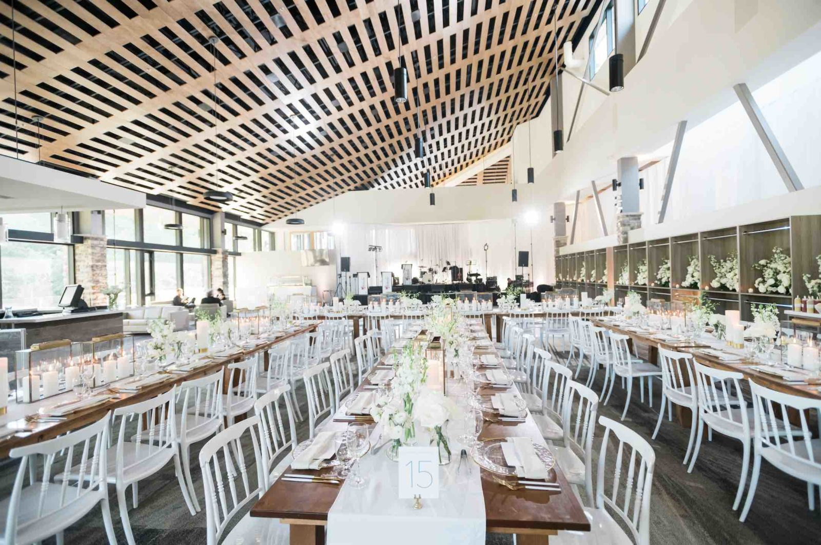 Alpine Ski Club food being set up in event space set up for Wedding